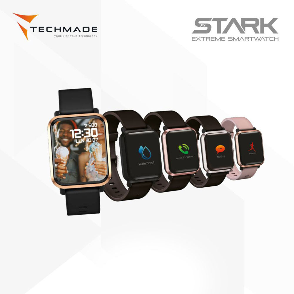 Gold Stark on Black Smart Watch by Techmade