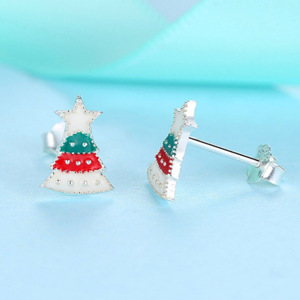 Christmas Tree Children Sterling Silver Enamel Stud Earrings