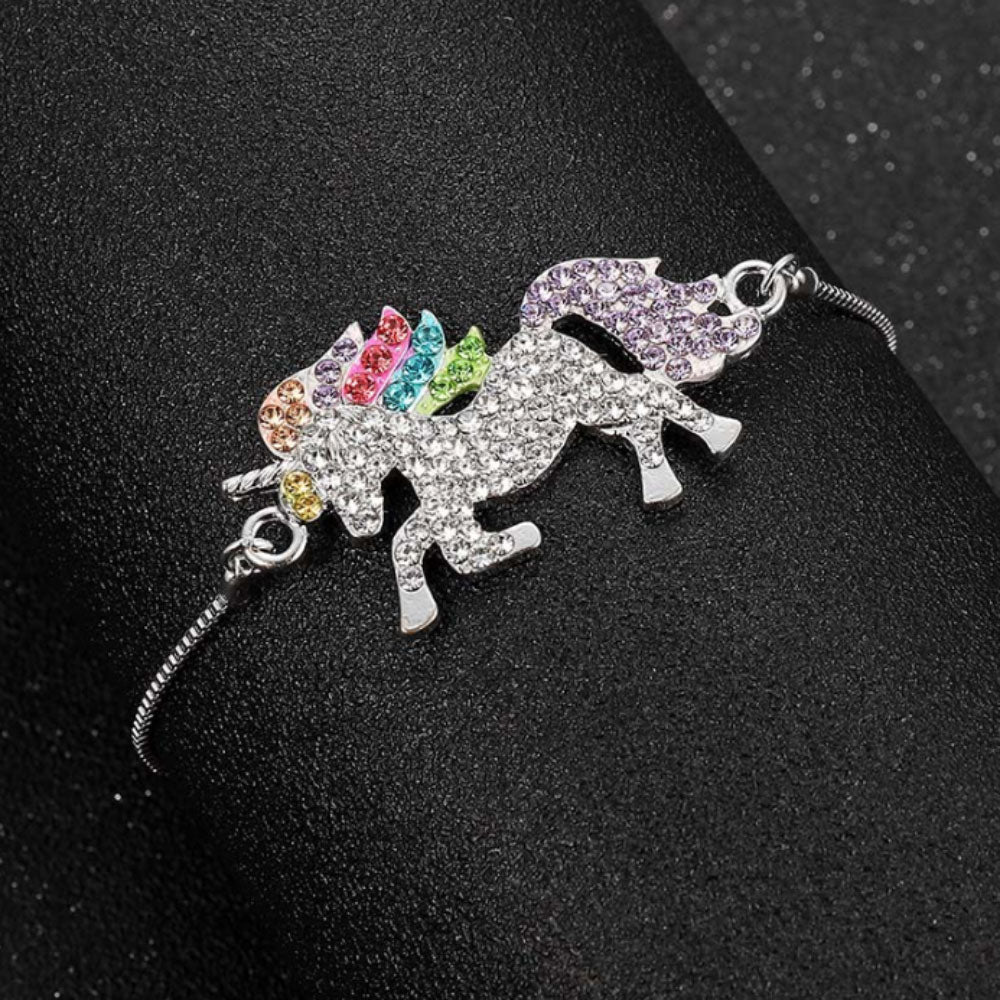 Eva Diamante Rainbow Crystals Unicorn Adjustable Bracelet