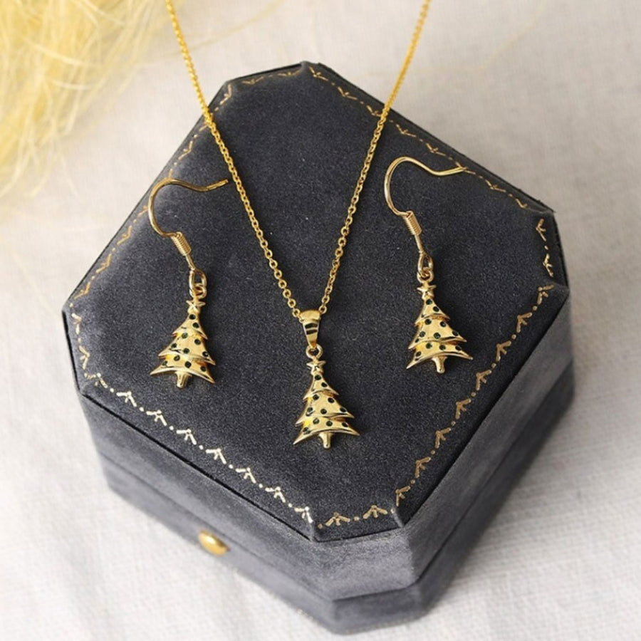 Gold Christmas Tree Green CZ Pendant And Earring Set
