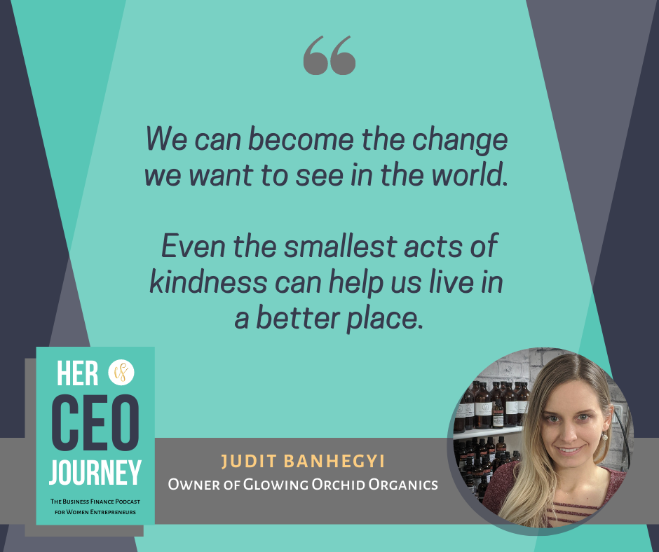 "Quote by Judit Banhegyi ""we can become the change in the world, even the smallest acts of kindness can help us live in a better place"""