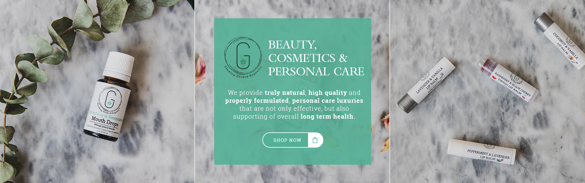 Glowing Orchid Organics love the glow share the glow, personal care luxuries banner image, lip balms, mouth drops, face mask. Natural Organic Skincare