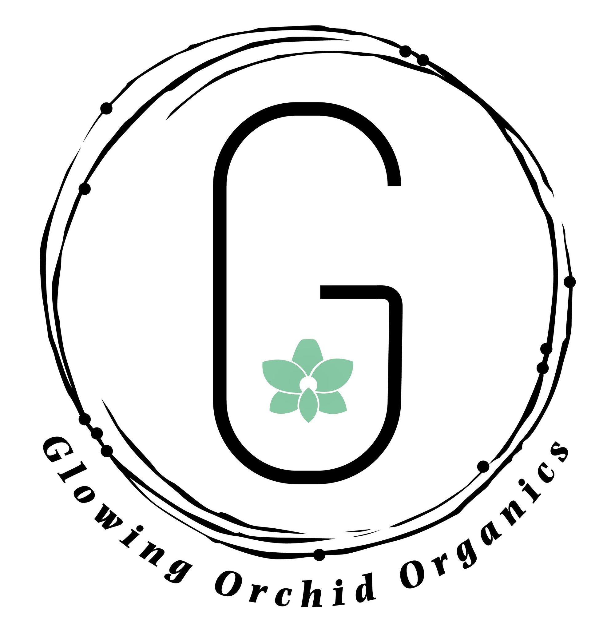 Glowing Orchid Organics Favicon Capital G with Teal Orchid in the center enveloped in circular artwork and cradled by company name 2020