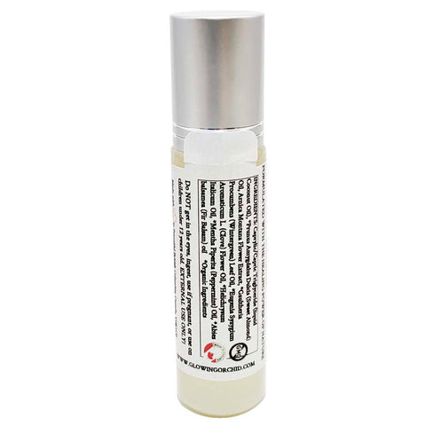 Aromatherapy Roll-on Muscle Ease (10 ml) Front Glowing Orchid Organics