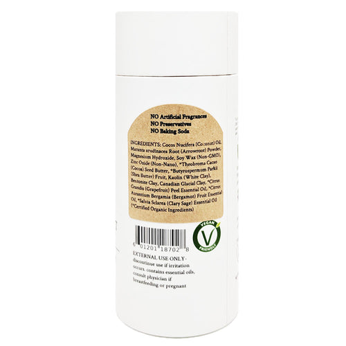100% Natural Vegan Grapefruit & Bergamot Deodorant in Plastic free, Biodegradable Paper Tube Container Backing Soda Free Regular Size Back Ingredients (84 g | 3 oz) Glowing Orchid Organics