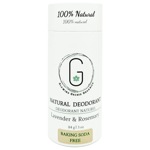 100% Natural Vegan Lavender & Rosemary Baking Soda Free Deodorant in Plastic Recyclable Tube Container Regular Size  Front (84 g | 3 oz) Glowing Orchid Organics