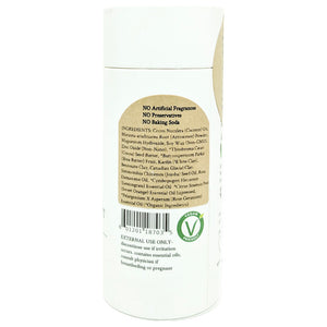 100% Natural Vegan Lemongrass & Rose Baking Soda Free Deodorant in Plastic free, Biodegradable Paper Tube Container Back Ingredients (84 g | 3 oz) Glowing Orchid Organics