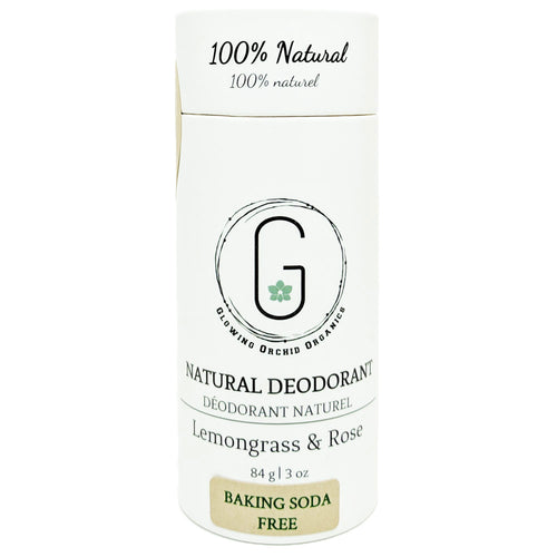 100% Natural Vegan Lemongrass & Rose Baking Soda Free Deodorant in Plastic free, Biodegradable Paper Tube Container Front (84 g | 3 oz) Glowing Orchid Organics