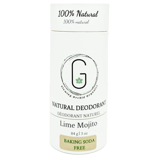 100% Natural Vegan Lime Mojito Baking Soda Free Deodorant in Plastic Recyclable Tube Container Regular Size Front (84 g | 3 oz) Glowing Orchid Organics