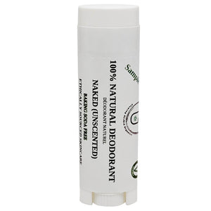 100% Natural Vegan Naked (Unscented) Baking Soda Free Deodorant in Plastic Recyclable Tube Container Sample Size Front (7 g | 0.25 oz) Glowing Orchid Organics