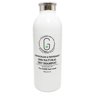 100% Natural Dry Shampoo Lemongrass & Peppermint for Dark Hair Tones (100 g) Glowing Orchid Organics
