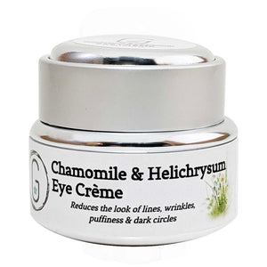 Eye Cream - Chamomile & Helichrysum Front 15ml glowing orchid organics anti-flammatory, firms, tightens and tones skin around the eye
