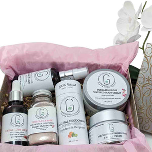 Ultra Glow Bundle includes an assortment of glowing orchid products in gift box