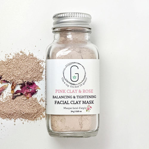 100% Natural Pink Clay & Rose (Balance & Tighten) Facial Clay Mask in Glass Bottle (24 g | 0.85 oz) Glowing Orchid Organics