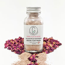 100% Natural Pink Clay & Rose (Balance & Tighten) Facial Clay Mask in Glass Bottle Front (24 g | 0.85 oz) Glowing Orchid Organics