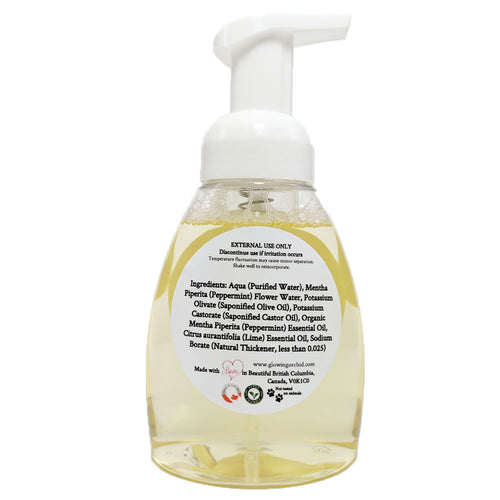 100% Natural Foaming Hand Soap Peppermint & Lime (250 ml) Back Ingredients Glowing Orchid Organics