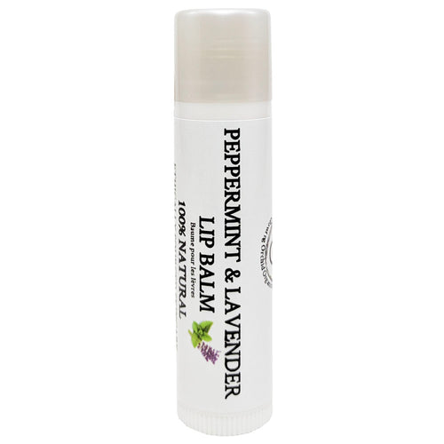 100% Natural Peppermint & Lavender Lip Balm Front Glowing Orchid Organics