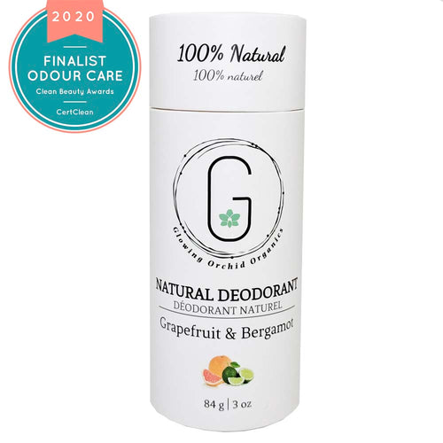 100% Natural Vegan Grapefruit & Bergamot Deodorant in Plastic free, Biodegradable Paper Tube Container Regular Size Front (84 g | 3 oz) Glowing Orchid Organics Clean Beauty Award 2020 Best Odour Care