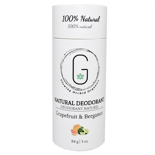 100% Natural Vegan Grapefruit & Bergamot Deodorant in Plastic free, Biodegradable Paper Tube Container Regular Size Front (84 g | 3 oz) Glowing Orchid Organics