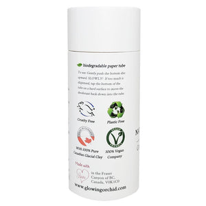 100% Natural Vegan Grapefruit & Bergamot Deodorant in Plastic free, Biodegradable Paper Tube Container Regular Size Side (84 g | 3 oz) Glowing Orchid Organics