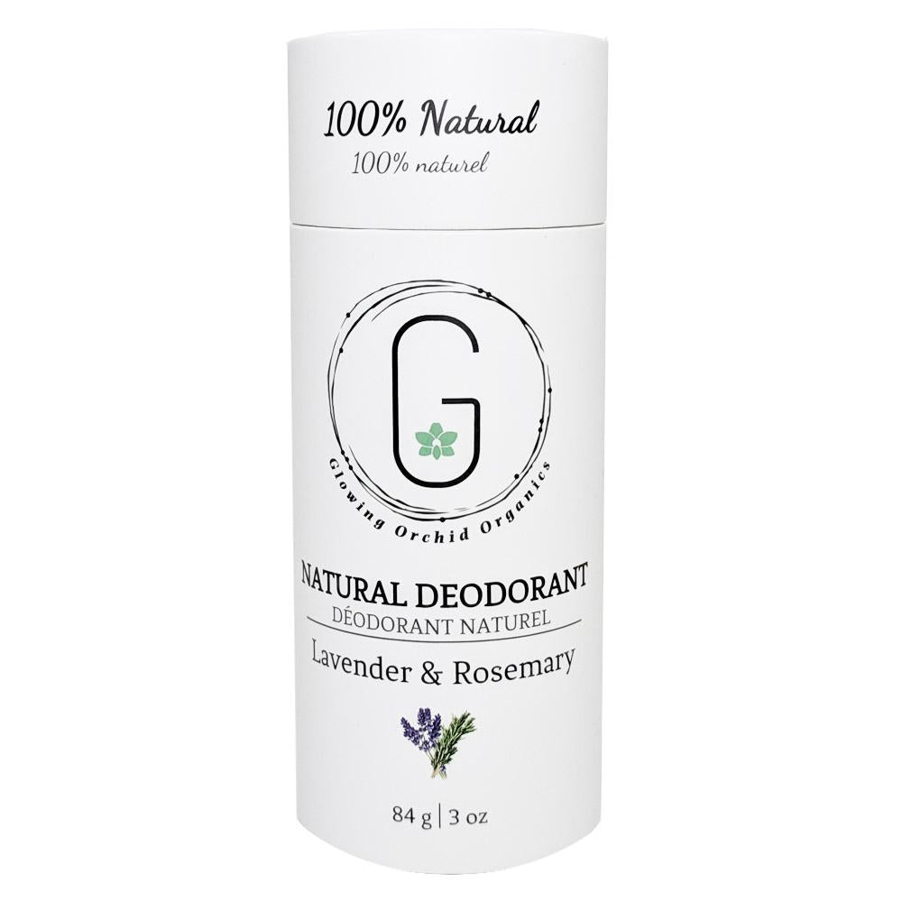 100% Natural Vegan Lavender & Rosemary Deodorant in Plastic free, Biodegradable Paper Tube Container Regular Size Front (84 g | 3 oz) Glowing Orchid Organics