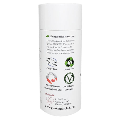 100% Natural Vegan Lavender & Rosemary Deodorant in Plastic free, Biodegradable Paper Tube Container Regular Size  Side (84 g | 3 oz) Glowing Orchid Organics