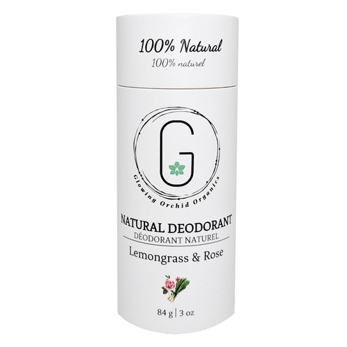 100% Natural Vegan Lemongrass & Rose Deodorant in Biodegradable Paper Tube Container Regular Size Front (84 g | 3 oz) Glowing Orchid Organics