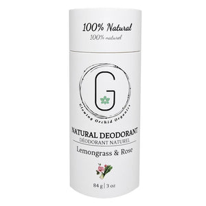 100% Natural Vegan Lemongrass & Rose Deodorant in Plastic free, Biodegradable Paper Tube Container Regular Size Front (84 g | 3 oz) Glowing Orchid Organics