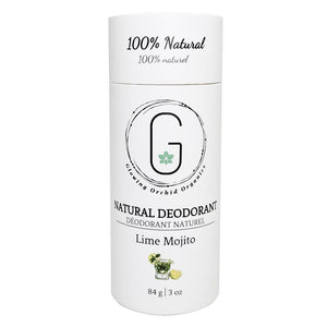 100% Natural Vegan Lime Mojito Deodorant in Plastic Recyclable Tube Container Regular Size Front (84 g | 3 oz) Glowing Orchid Organics