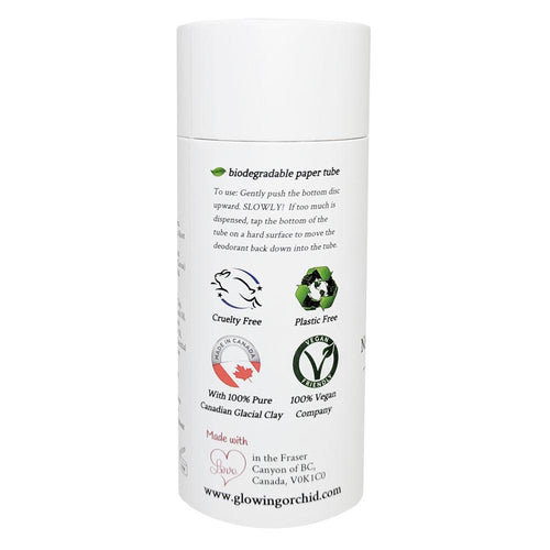 100% Natural Vegan Lime Mojito Deodorant in Plastic Recyclable Tube Container Regular Size Side (84 g | 3 oz) Glowing Orchid Organics