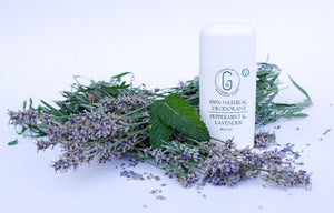 Vegan natural peppermint & lavender deodorant in plastic tube (84g) glowing orchid organics made in Canada