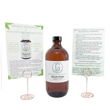 Bulk 500 ml organic mouth drops with explainer cards