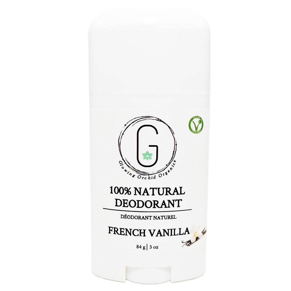 100% Natural Vegan French Vanilla Deodorant in Plastic Tube Container Regular Size Front (84 g | 3 oz) Glowing Orchid Organics