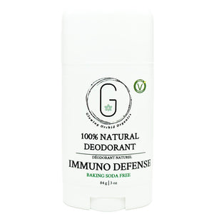 100% Natural Vegan Immuno Defense Baking Soda Free Deodorant in Plastic Tube Container Regular Size Front (84 g | 3 oz) Glowing Orchid Organics