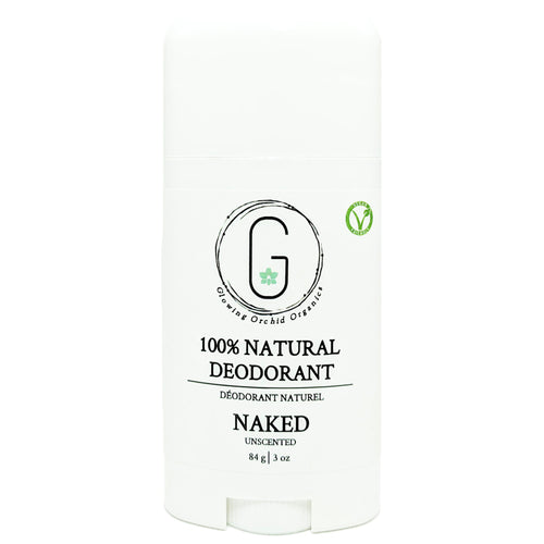 100% Natural Vegan Unscented Naked Deodorant in Plastic Recyclable Tube Container Regular Size Front (84 g | 3 oz) Glowing Orchid Organics