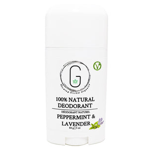 100% Natural Vegan Peppermint & Lavender Deodorant in Plastic Recyclable Tube Container Regular Size Front (84 g | 3 oz) Glowing Orchid Organics