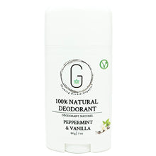 100% Natural Vegan Peppermint & Vanilla Deodorant in Plastic Recyclable Tube Container Regular Size Front (84 g | 3 oz) Glowing Orchid Organics