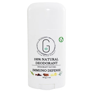100% Natural Vegan Immuno Defense Deodorant in Plastic Tube Container Regular Size Front (84 g | 3 oz) Glowing Orchid Organics