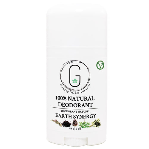 100% Natural Vegan Earth Synergy Deodorant in Plastic Tube Container Regular Size Front (84 g | 3 oz) Glowing Orchid Organics