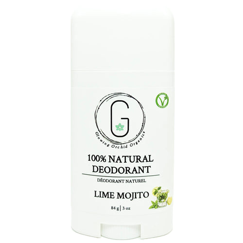 100% Natural Vegan Lime Mojito Deodorant in Plastic Recyclable Tube Container Travel Size Front (84 g | 3 oz) Glowing Orchid Organics