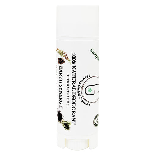 100% Natural Vegan Earth Synergy Deodorant in Plastic Recyclable Tube Container Sample Size Front (7 g | 0.25 oz) Glowing Orchid Organics