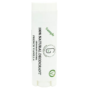 100% Natural Vegan French Vanilla Deodorant in Plastic Recyclable Tube Container Sample Size Front (7 g | 0.25 oz) Glowing Orchid Organics