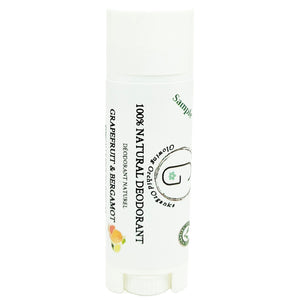 100% Natural Vegan Grapefruit & Bergamot Deodorant in Plastic Recyclable Tube Container Sample Size Front (7 g | 0.25 oz) Glowing Orchid Organics