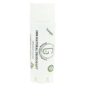 100% Natural Vegan Lavender & Rosemary Deodorant in Plastic Recyclable Tube Container Sample Size Front (7 g | 0.25 oz) Glowing Orchid Organics