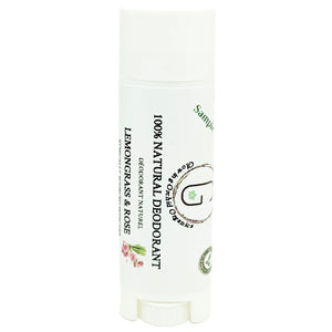 100% Natural Vegan Lemongrass & Rose Deodorant in Plastic Recyclable Tube Container Sample Size Front (7 g | 0.25 oz) Glowing Orchid Organics