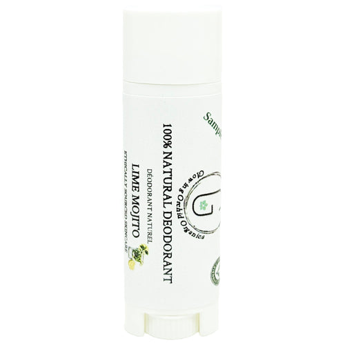 100% Natural Vegan Lime Mojito Deodorant in Plastic Recyclable Tube Container Sample Size Front (7 g | 0.25 oz) Glowing Orchid Organics