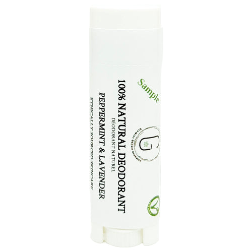 100% Natural Vegan Peppermint & Lavender Deodorant in Plastic Recyclable Tube Container Sample Size Front (7 g | 0.25 oz) Glowing Orchid Organics