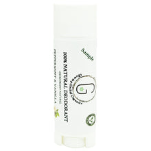 100% Natural Vegan Peppermint & Vanilla Deodorant in Plastic Recyclable Tube Container Sample Size Front (7 g | 0.25 oz) Glowing Orchid Organics