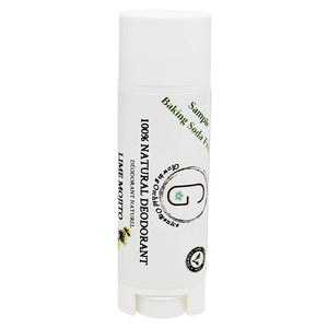 100% Natural Vegan Lime Mojito Baking Soda Free Deodorant in Plastic Recyclable Tube Container Sample Size Front (7 g | 0.25 oz) Glowing Orchid Organics