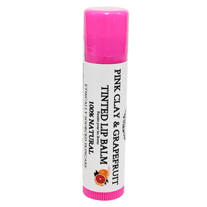 100% Natural Pink Clay & Grapefruit Tinted Lip Balm Pink Tube Glowing Orchid Organics